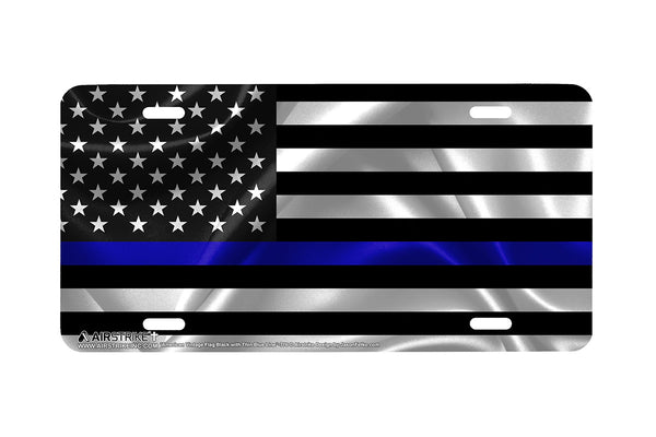 Airstrike®Thin Blue Line Black American Flag License Plate, Policeman License Plate, Police License Plate Made in USA (Made of Metal)-776