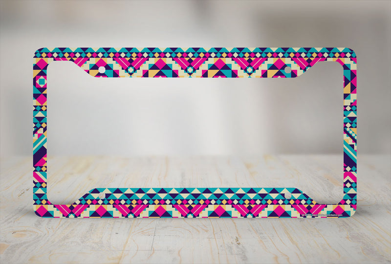Airstrike® Aztec License Plate Frame, Tribal Car Tag Frame, Cute License Plate Holder, Aztec Tribal Decorative License Plate Frame-30-657