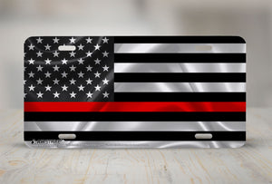 Airstrike®Thin Red Line License Plate, Black American Flag with Red Stripe License Plate Made in USA (Made of Metal)-782