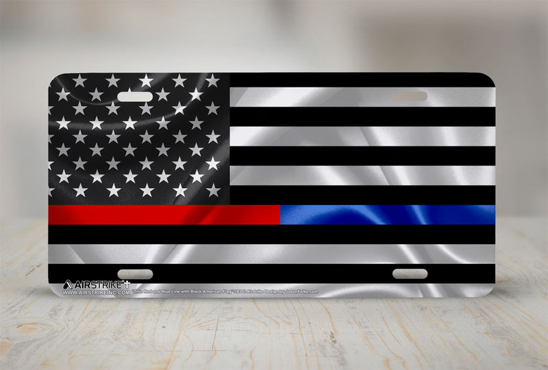 Airstrike®Thin Red and Blue Line License Plate, Black American Flag with Red and Blue Stripe License Plate Made in USA (Made of Metal)-783