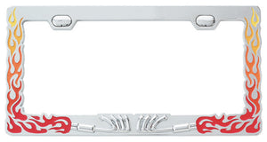 Fire Flames Manifold Chrome License Plate Frames