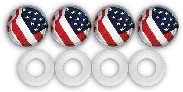 License Plate Screw Covers, USA Flag