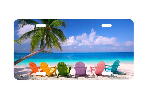 "Airstrike® Beach License Plate  543-""Beach Chairs""-Beach Scene License Plate"