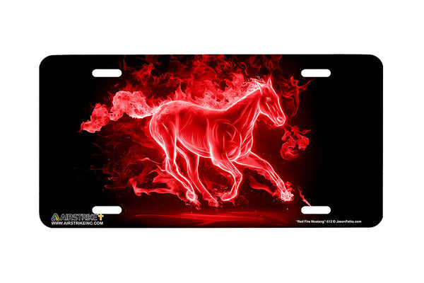 "Airstrike® Mustang License Plate 512-""Fire Mustang Red""-Horse License Plates"