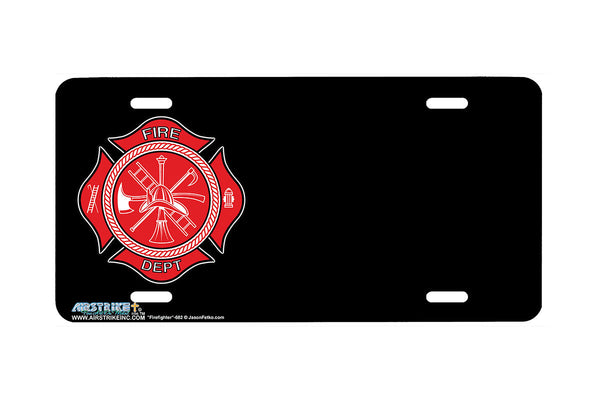 "Airstrike® Firefighter License Plate 265-OB-""Firefighter Offset Black"" Firefighter License Plates"