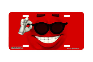 "Airstrike® 616-""Red So Cool"" Emoticon Face License Plate"