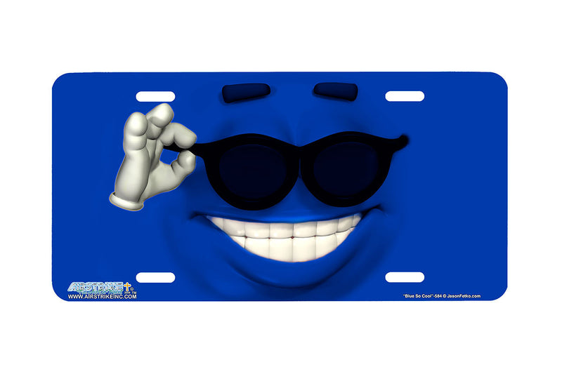 "Airstrike® 584-""Blue So Cool"" Emoticon Face License Plate"