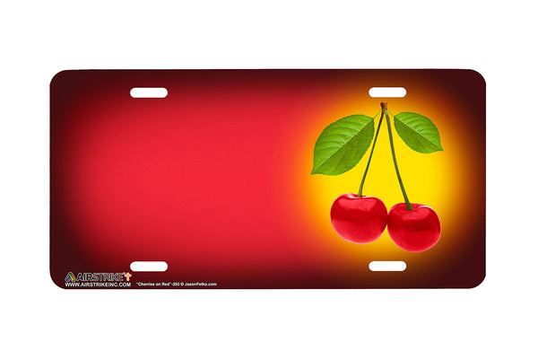 "Airstrike® 350-""Cherries on Red"" Cherries Airbrushed License Plates"
