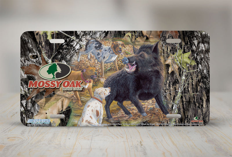 "Airstrike® Mossy Oak License Plate 8026-""Break Up Ringer with A Rock and a Hard Place""-Mossy Oak Camo Wild Boar Hunting License Plate"