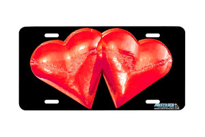 "Airstrike® 218-""Red Metallic Hearts"" License Plate"