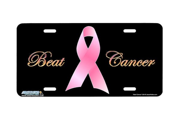 "Airstrike® 264-""Beat Cancer"" Pink Ribbon Breast Cancer License Plates"