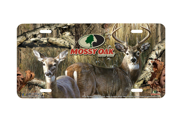 "Airstrike® Mossy Oak License Plate 8023-""Break Up Infinity Ringer with Power and Grace""-Mossy Oak Camo Deer License Plate"