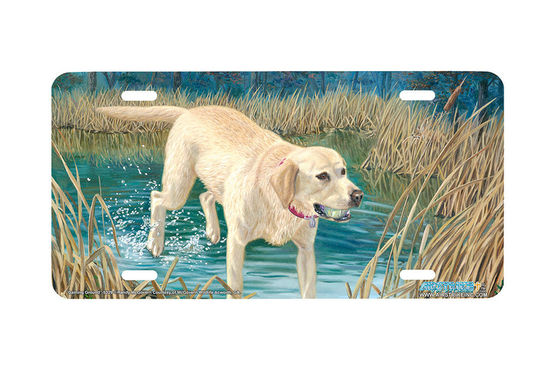 "Airstrike® 5329-""Gaining Ground"" Yellow Labrador Retiever Dog License Plate"