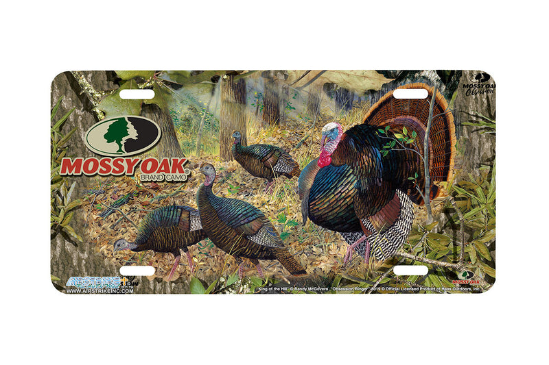 "Airstrike® Mossy Oak License Plate 8019-""Obsession Ringer and King of the Hill""-Mossy Oak Camo Turkey License Plate"
