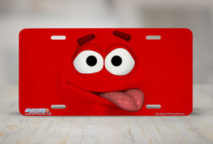 "Airstrike® 578-""Red Attitude"" Emoticon Face License Plate"