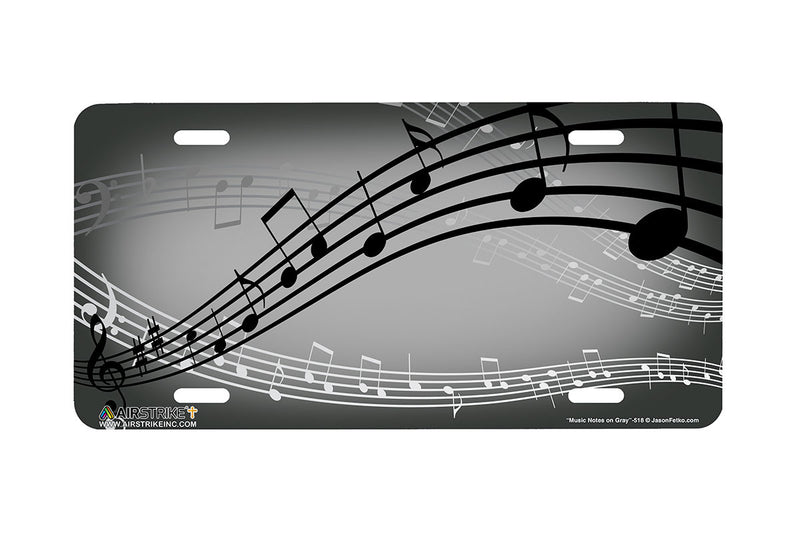 "Airstrike® 518-""Music Notes on Gray"" Musician License Plate"