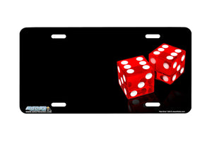 "Airstrike® 328-""Red Dice"" Dice Airbrushed License Plates"
