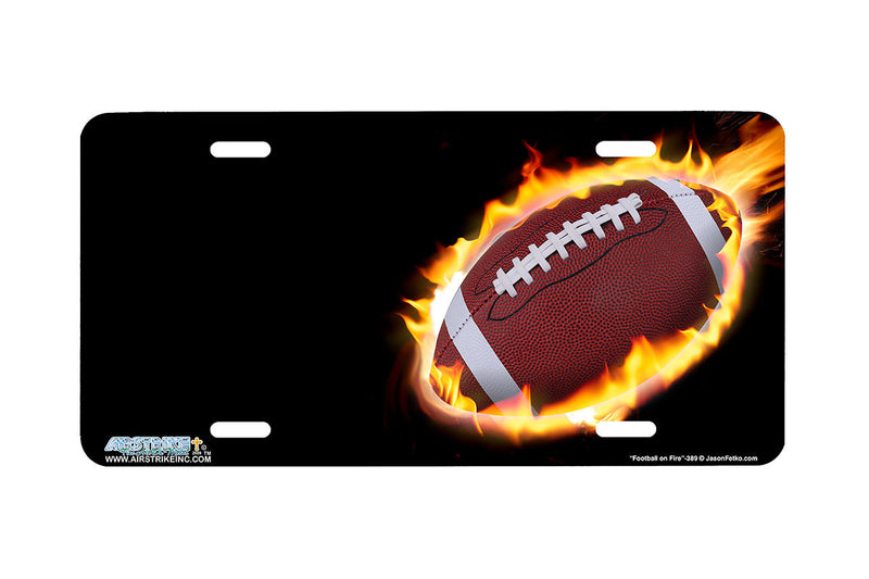"Airstrike® 389-""Football on Fire"" Sports License Plates"