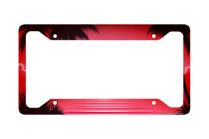 Airstrike® Beach License Plate Frame, Beach Car Tag Frame, Beach License Plate Holder, Ocean Palm Trees Beach License Plate Frame-30-311