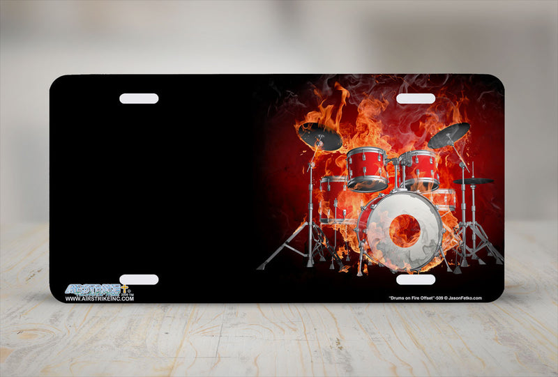 "Airstrike® 509-""Drums on Fire Offset"" Musician Drummer License Plate"