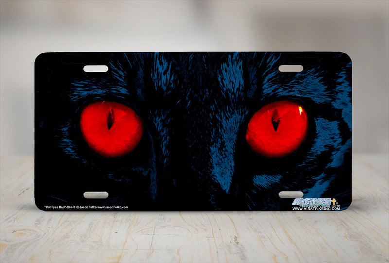 "Airstrike® 248-R""Red Cat Eyes"" Cat Eyes Red License Plate"