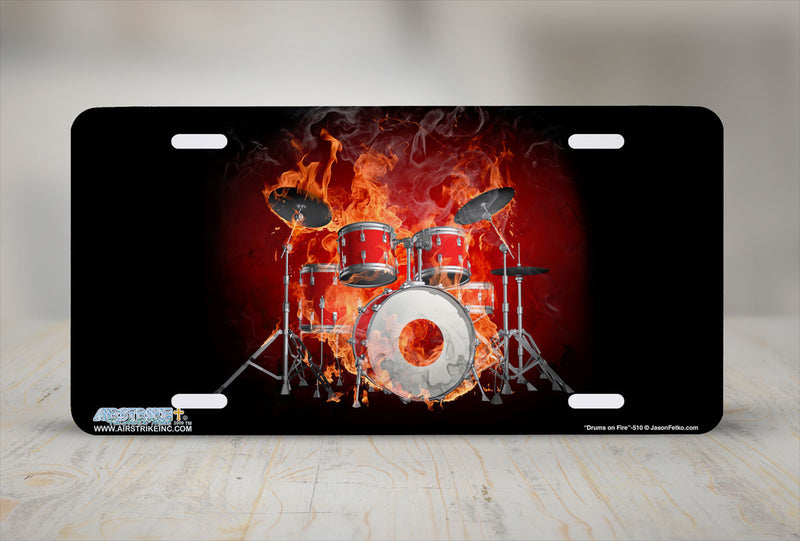 "Airstrike® 510-""Drums on Fire"" Musician Drummer License Plate"