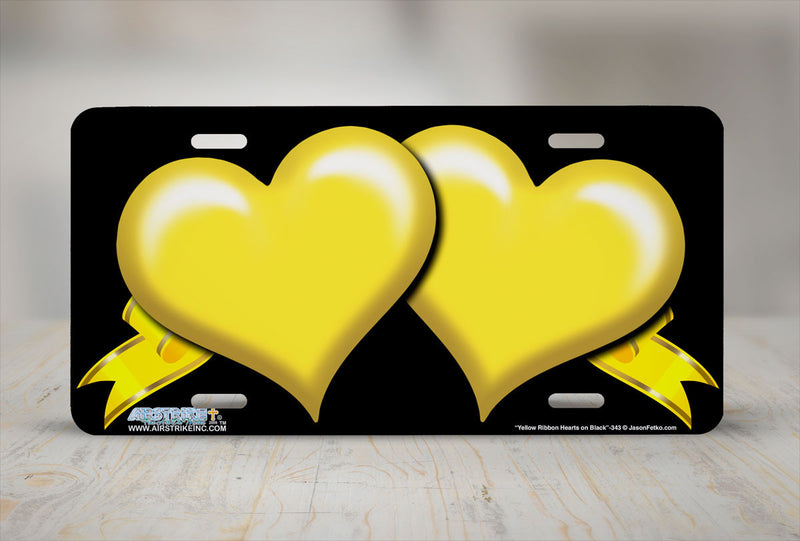 "Airstrike® 343-""Yellow Ribbon Hearts on Black"" Heart Airbrushed License Plates"