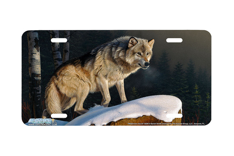 "Airstrike® Wolf License Plate 8249-""Wilderness Scout""-Wolf License Plate"