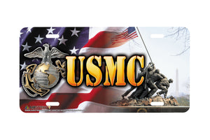 "Airstrike® Marine Corps License Plate Marine License Plate ""USMC War Memorial""-283"