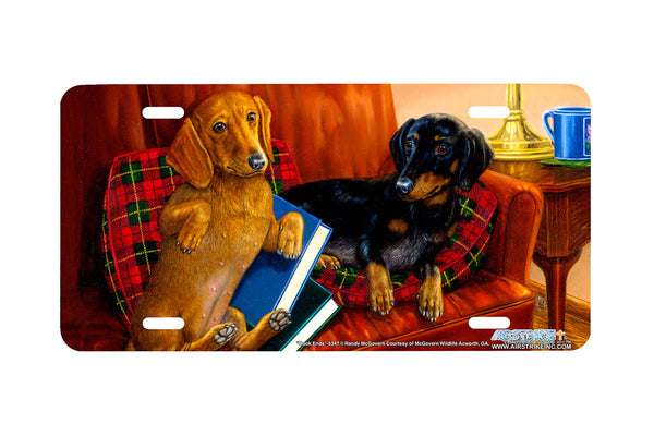 "Airstrike® 5347-""Book Ends"" Dachshund Dog License Plate"