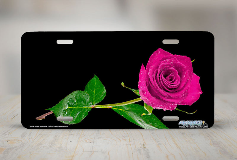 "Airstrike® 303-""Pink Rose on Black"" Easily Personalized License Plates"