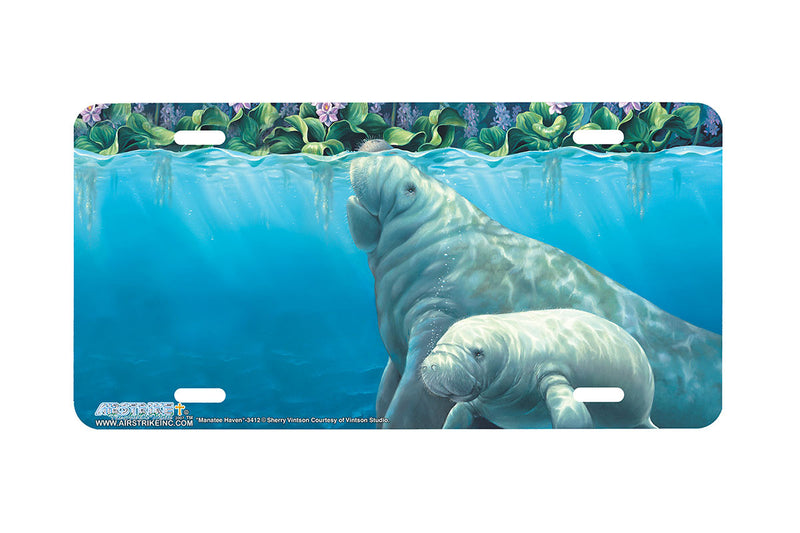 "Airstrike® Manatee License Plate 3412-""Manatee Haven"" Manatee License Plate"