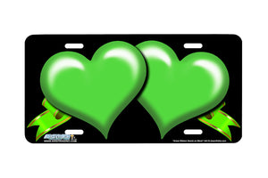 "Airstrike® 344-""Green Ribbon Hearts on Black"" Heart Airbrushed License Plates"