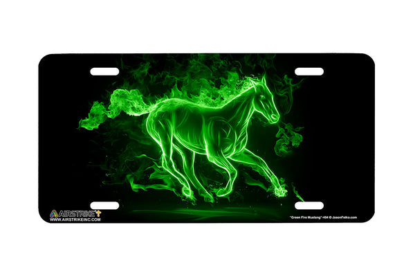 "Airstrike® Mustang License Plate 494-""Fire Mustang Green""-Horse License Plates"