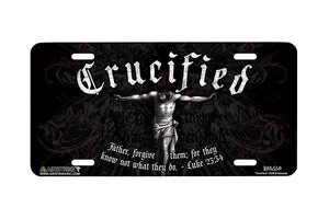 "Airstrike® Christian License Plate 7208-""Crucified""-Christian License Plate"