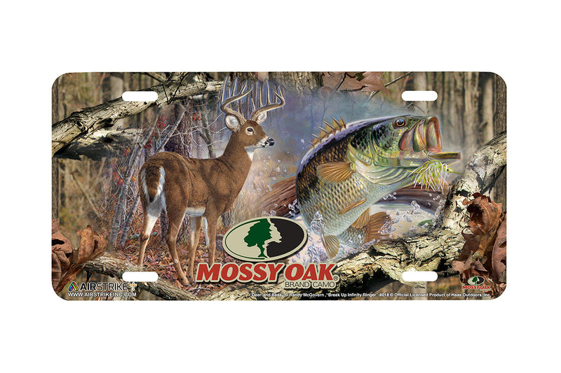 "Airstrike® Mossy Oak License Plate 8018-""Break Up Infinity Ringer and Deer and Bass""-Mossy Oak Camo Deer License Plate"