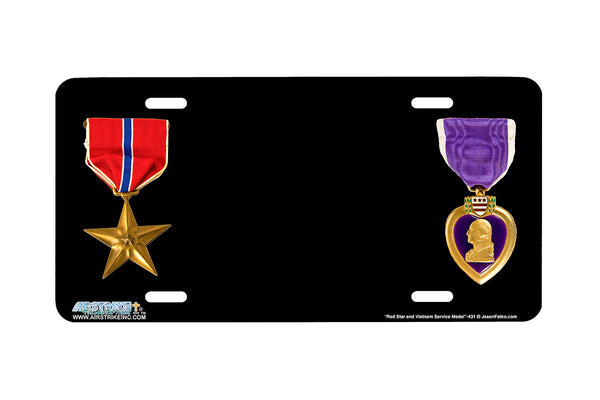"Airstrike® 431-""Bronze Star and Purple Heart Medal"" Military Airbrushed License Plates"