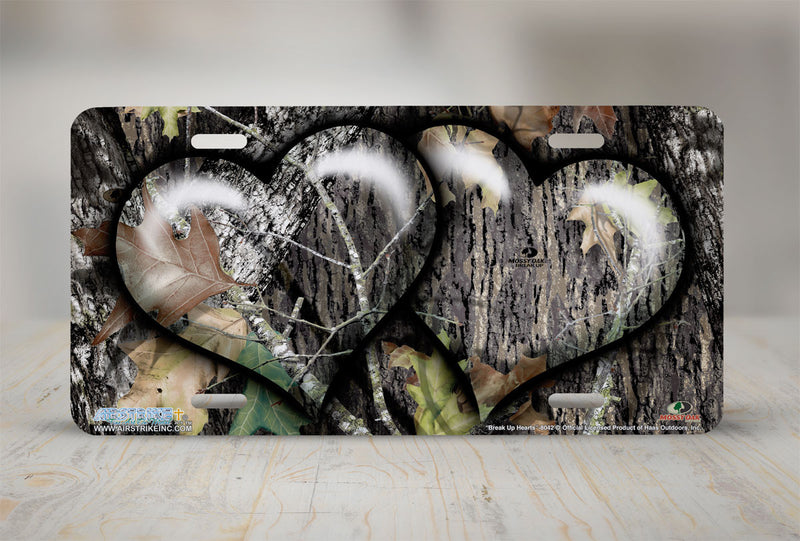 "Airstrike® Mossy Oak License Plate - ""Break Up Hearts""- Mossy Oak Camo License Plate-8042"