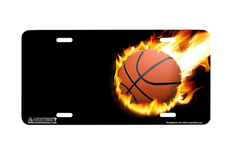 "Airstrike® 394-""Basketball on Fire"" Basketball License Plates"