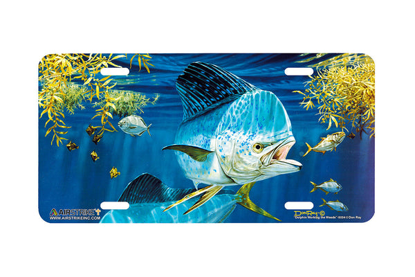 "Airstrike® Fishing License Plates 5034-""Dolphin Working the Weeds"" License Plate"