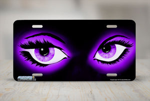 "Airstrike® 611-""Purple Eyes"" Airbrushed License Plate"