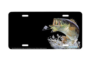 "Airstrike® Bass Fishing License Plates 5420-""Buzz Off""-Offset Black Bass License Plate"