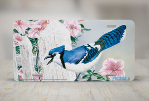 "Airstrike® 5262-""Blue Jay and Azaleas"" License Plate"
