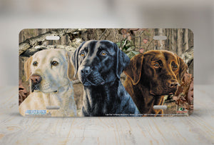 "Airstrike® Mossy Oak License Plate 8021-""Break Up Infinity and Lab Trio""-Mossy Oak Camo Lab Dogs License Plate"
