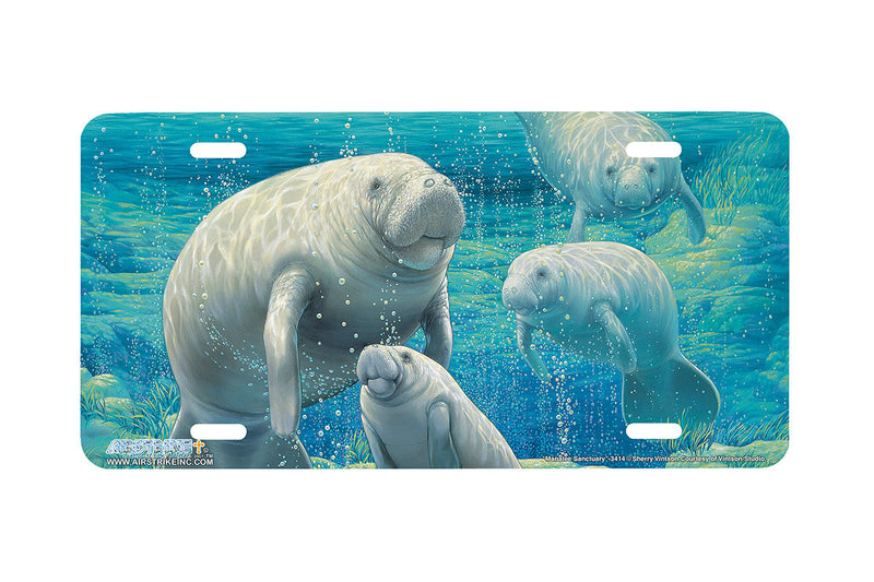 "Airstrike® Manatee License Plate 3414-""Manatee Sanctuary"" Manatee License Plate"