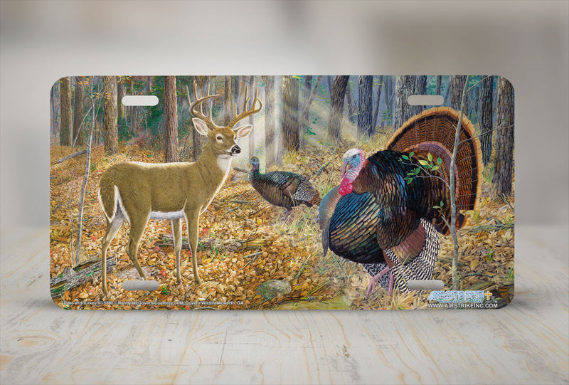 "Airstrike® 5380-""Deer and Turkey II"" Deer and Turkey License Plate"