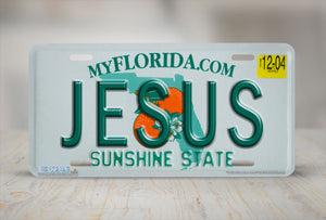 "Airstrike® Christian License Plate 606-""Florida State Plate Jesus""-License Plate"