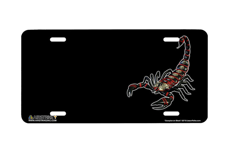 "Airstrike® 357-""Scorpion on Black"" Scorpion Airbrushed License Plates"