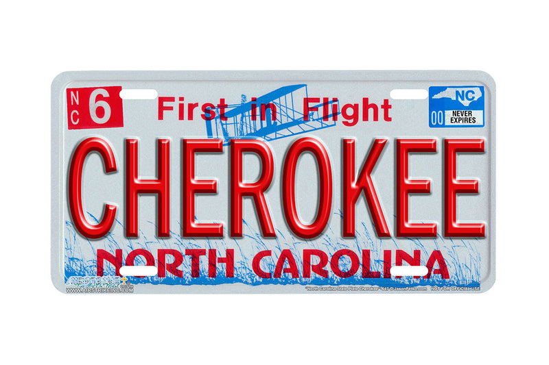 "Airstrike® 647-""North Carolina State Plate Cherokee""-Vanity License Plate"