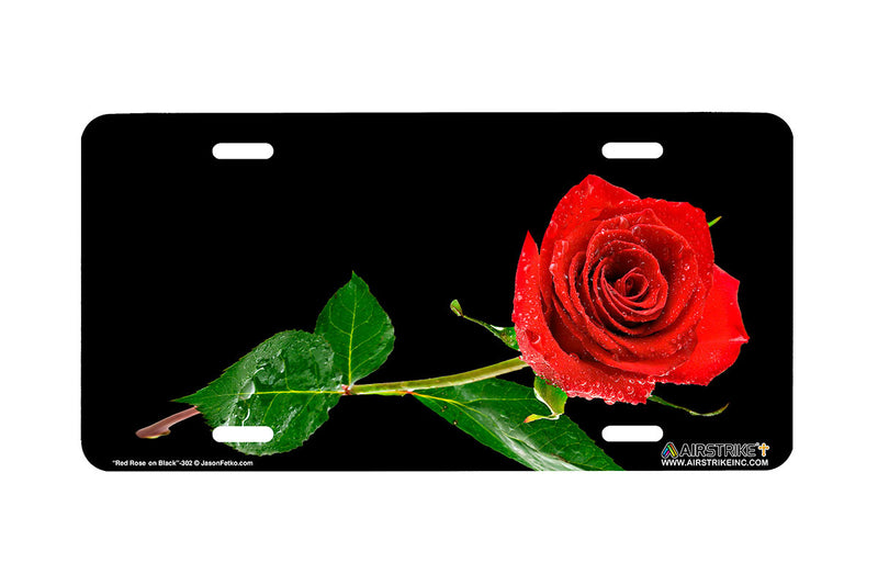 "Airstrike® 302-""Red Rose on Black"" Easily Personalized License Plates"